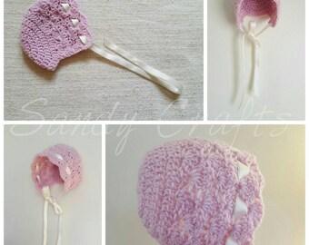 Crochet Hat, Baby Bonnet, Vintage Style Baby Hat