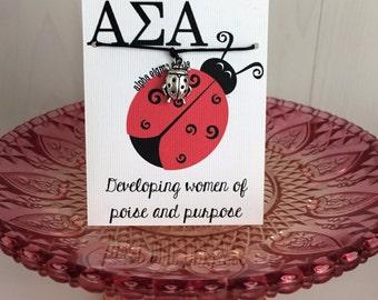 Alpha Sigma Alpha Sorority Wish Bracelet~ Sorority~ College Life~ Go Greek~ Big Sis Lil Sis Reveal~ Rush Week~ Choose Crown or Ladybug Charm