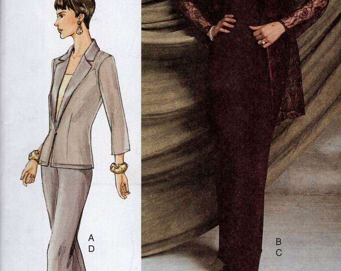 Free Us Ship Sewing Pattern Vogue Woman 7520 Suit Jacket Skirt Pants Pantsuit Size 6 8 10 Bust 30.5 31.5 34 Uncut 2001 Sheer sleeves