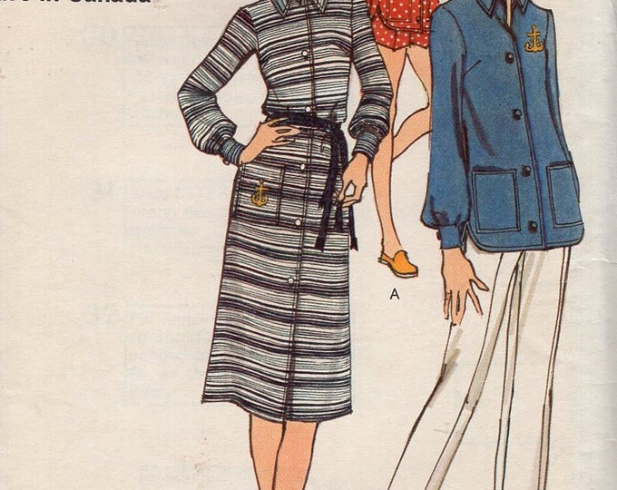 Free Us Ship Sewing Pattern Vogue 8095 Vintage Retro 1970s 70s Shirt Dress Fitted Shorts Pants Size 12 Bust 34  Uncut