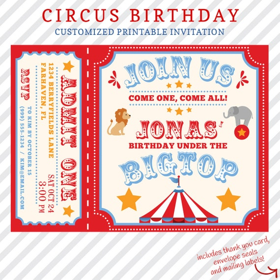 Circus Birthday Invitation Printable Custom Invitation With