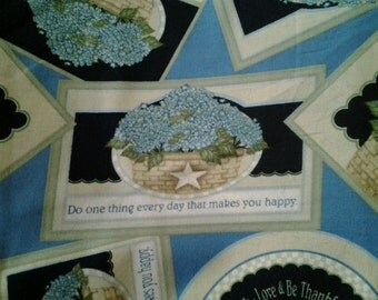 Blue Floral Fabric Hydrangea Bounty ~ Live, Laugh, Love & Be Thankful ~ 100% QSQ Cotton, Sold BTY