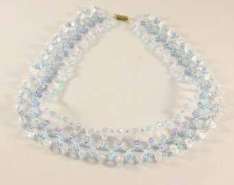 Beaded necklace, light blue beaded necklace, light blue necklace, blue necklace, light blue seed beads, jewelry with seed beads, light blue