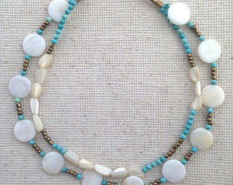 Turquoise Necklace + Summer Necklace + Mother of Pearl + Vintage Mother of Pearl + Two Strand Necklace