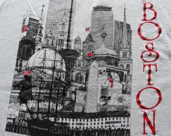 vintage 1990s Boston skyline MA Massachusetts t-shirt – XL