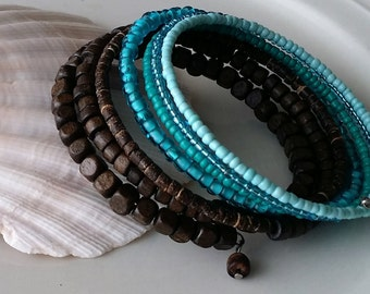 Turquoise memory wire bracelet, Czech seed beads , wood, coconut, blue gradient