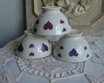Vintage Café au Lait Bowls, French Breakfast Bowls, Purple Hearts Design Bowls, Set of Three Retro Bowls
