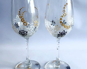 Set of 2 hand painted gold wine glasses