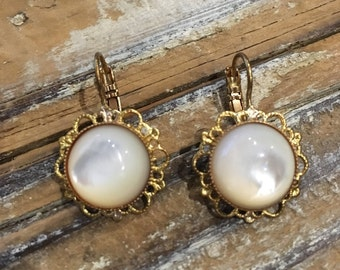 Vintage Brass filigree earrings with mother of Pearl