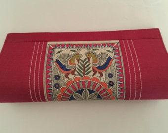Pure Silk Hand Painted Madhubani Clutch Evening Bag