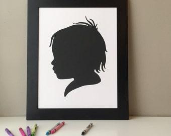 "Custom Portrait Silhouette Hand Drawn Paper Cut 11x14"" Black and White"