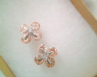 Light peach / rose gold crystal flower stud earrings / bracelet