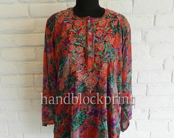 Women's Plus Size Red Chiffon Embroidered Tunic,Indian Tunic,Printed Tunic,Indian Kurti,Beach Tunic,Summer Tunic,Beach Cover Up,Red Top