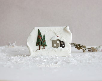 Winter-Magnets handmade-Kitchen Magnets-Fridge Magnets-Holiday Magnets-magnets-white-snow-gift-minimalist style miniature house