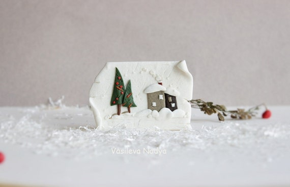 Magnets  minimalist style Winter new Year Fridge Magnets Holiday Magnets white snow  miniature house