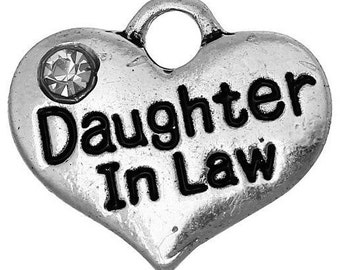 Daughter In Law Heart Charm with Stone *add on* Only