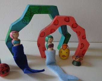 Under the Sea Mermaid Peg Doll Play Set