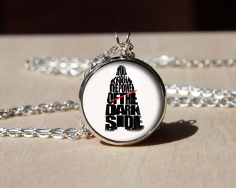 Handmade pendant, Darth Vader necklace, Glass dome Pendant, gift for Her Him, nekel free jewelry