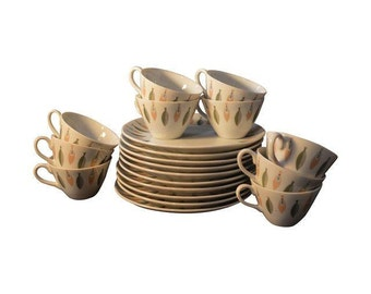 Mid Century Snack Plate and Cup Set, Atomic Leaf Pattern, SET OF TEN (10)