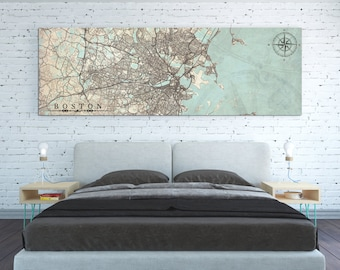 BOSTON MA Canvas Print Vintage map Massachusetts Boston Ma Vintage map City Horizontal Large Wall Art Vintage Gift poster antique Home Decor