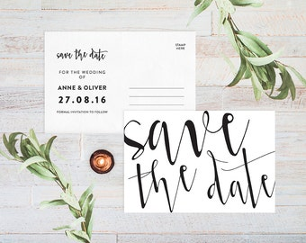 Save the date postcard printable save the date postcard save the date, Wedding save the date cards, Black and white save the date