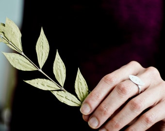 The Leaf Ring  sterling silver (MADE TO ORDER) - rustic, organic