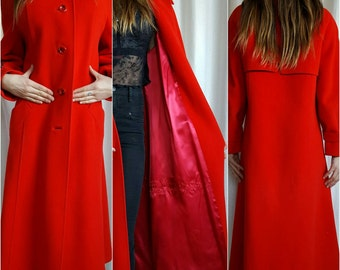GORGEOUS Vintage Red 60s  100% Wool Coat Winter Evening Floor Length Glamour Pin Up Hollywood Glamour Lace and Silk Detail Mod
