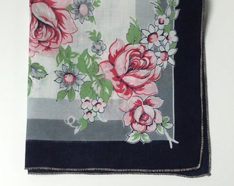 Vintage Navy Handkerchief With Pink Roses, Vintage Hanky, Navy and Pink Handkerchief