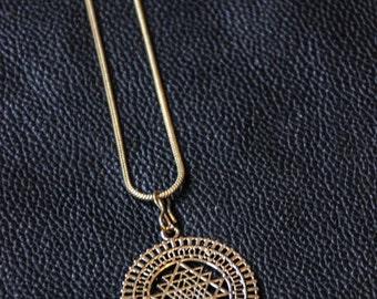 Sri Yantra Chain - Bronze - Yoga -  Boho - Tribal - Ethnic - Mystic - Shamanic - Original - Indian Spirit - Osho