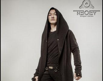 Long black men's  cardigan - Mantle with big hood «Desert Warrior»Hooded Cape Coat  hoodie /hoodie women/hoodie scarf/baza hoodie