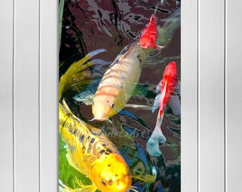 Items similar to button art koi fish home decor koi for Koi carp wall art