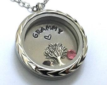 GRAMMY - Braided Silver Edge or Custom Floating Charm Locket - Memory Locket - Custom Hand Stamped Gift for Mom