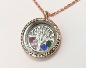 FAMILY TREE - Simple Floating Charm Locket with Tree Background and Birthstones - Memory Locket - Custom Stamped Gift