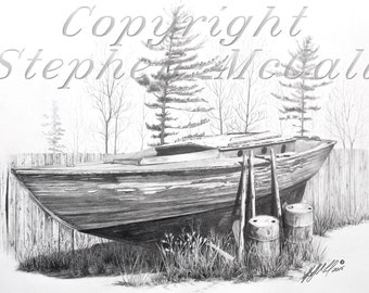 "Giclee fine art print of original drawing ""Yesterday's Dream"", boat drawings, gifts for men, landscape art, pencil drawings"