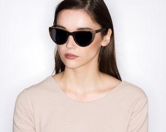 Handmade Cateye Sunglasses, Dark Wood Cat Eye Shades | Womens Sunglasses | Sunglasses for Women