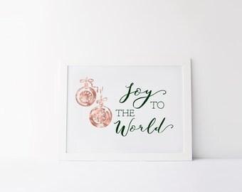 Printable art Christmas printable Joy to the world Wall art decor Winter decor prints Christmas decor Holiday print Christmas wall art print