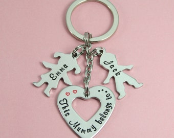 """Personalised """"This Mummy, Auntie, Nanny, Best Friend, Granny, Godmother belongs to.."""" Key Ring/Keyring 