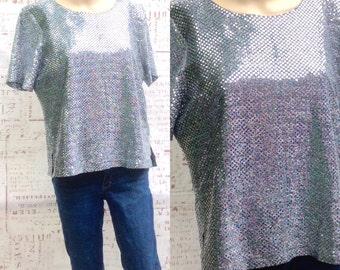 80's DISCO SILVER SPARKLE vintage disco womens medium ..Wow !!!
