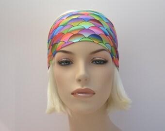 Fitness Headband-Yoga Headband-ExerciseHeadband-Multicolored Fishscale Mermaid-Festival Headband-Gymnastics-Costume Dance Headband-NonSlip