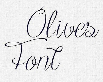 Olives  Embroidery Font  1,2,3 Inches, Instant Download