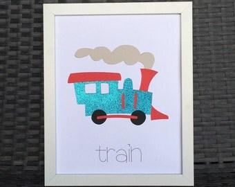 8x10 Train Print Art - Nursery Print, Kid's Print, All Ages Print - Trucks, Cars