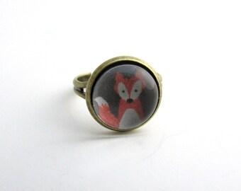 Fox Ring - Adjustable Fox Ring - Woodland Ring - Fox Jewelry