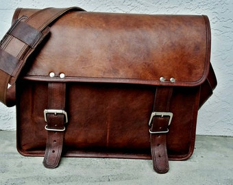 "Personalized Men's Leather Messenger Bag. Leather Briefcase. 16"" Men's Leather Bag. Man Bag. Leather Work Office Bag. Mens Work Laptop Bag"