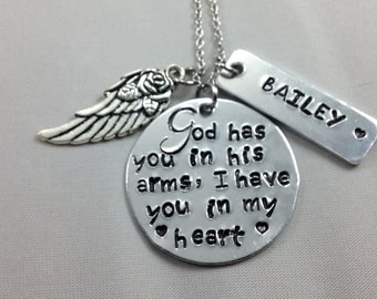 God has you in his arms I have you in my heart - memorial necklace - loss of baby - loss of infant - miscarriage - sympathy gift - grief