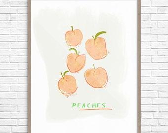 Peaches Art Print, Peach Illustration, Kitchen Wall Decor, Peaches Wall Decor, Nursery Wall Decor, Peaches fruit printable art, Food Art