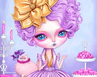 Hunger Games Effie Trinket Wall Art print - pop surrealism, big eyes, pop art, pastel, movie, painting 8 x 10
