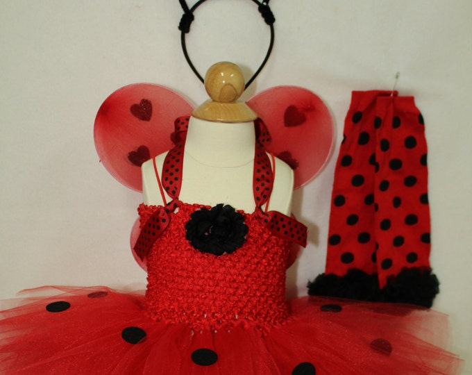Girl Ladybug Halloween costume, Girls red Ladybug costume,Ladybug leggings, Ladybug wings,Ladybug headband, Baby girl Halloween costume