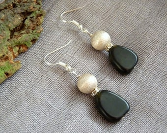 Earrings soapstone dark green - 925 Sterling hooks #2
