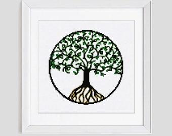 Tree of life cross stitch pattern, tree counted cross stitch pattern, tree of life modern cross stitch pattern