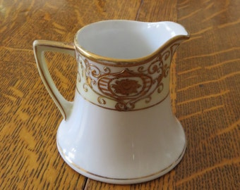 Nippon Fine White China with Gold Floral Christmas Ball Pattern Creamer Pitcher Old Spoke Mark